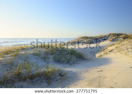 Sand Dunes in Early Morning Sun Light - Cape Hatteras - stock photo