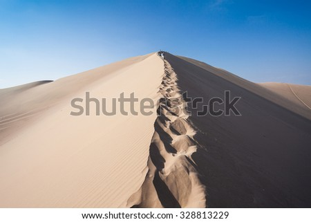 Sand dunes in Huacachina desert, Ica Region, Peru - stock photo