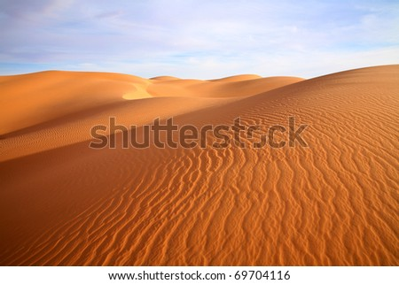 Sand Dunes in Mauritania. - stock photo