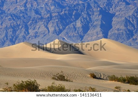 Sand dunes in Mesquite Flat Sand Dunes, Death Valley National Park, California, USA - stock photo