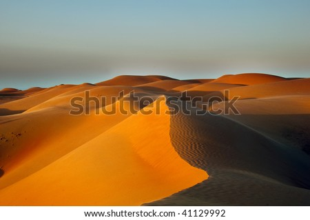 Sand Dunes in Oman - stock photo