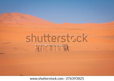 Sand Dunes in the Sahara Desert, Merzouga, Morocco - stock photo