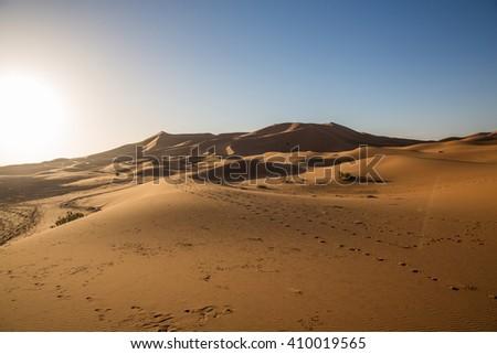 Sand dunes in the Sahara Desert, Morocco - stock photo