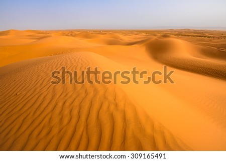 Sand dunes in the Sahara desert, Tagounite, Morocco - stock photo