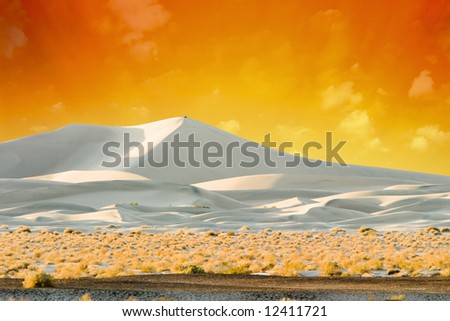 Sand Dunes Lit By Golden Sunset - stock photo