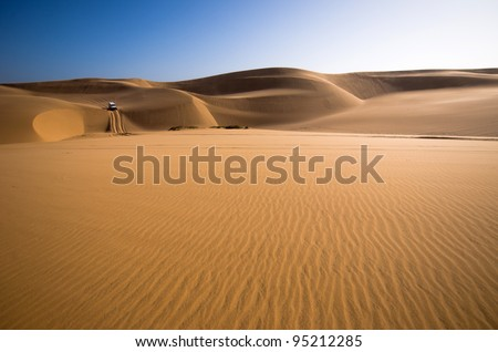 Sand dunes, Namib desert, Sandwich Harbour near Swakopmund, Namibia - stock photo