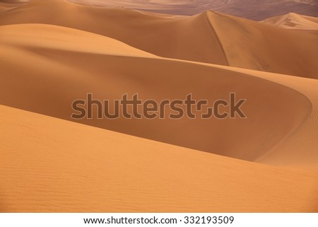 Sand dunes near Huacachina in Ica region, Peru. - stock photo