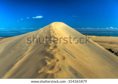 Sand dunes of Bazaruto Island, Mozambique. - stock photo