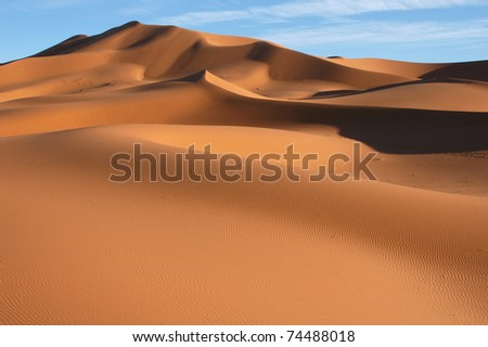 Sand dunes of Erg Chebbi in the Sahara Desert, Morocco. - stock photo