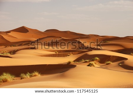 Sand Dunes of Erg Chebbi int he Sahara Desert, Morocco - stock photo