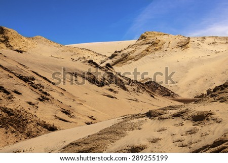 sand dunes on a beautiful day - stock photo