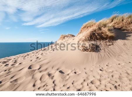 sand dunes on the shore of lake michigan - stock photo