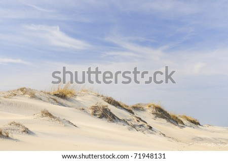 Sand Dunes on windy, winter day - stock photo