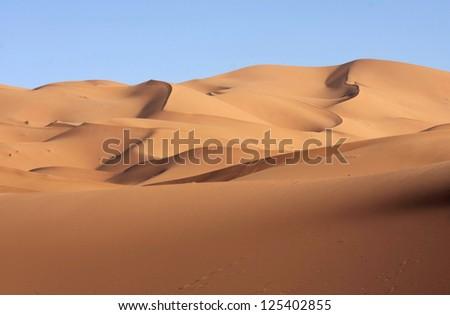 sand dunes view on eastern Sahara desert - stock photo