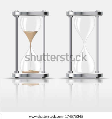 Sand falling in the hourglass on dark background. illustration