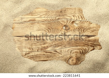 Sand frame on planked wood. Summer concept with copy space. Top view - stock photo