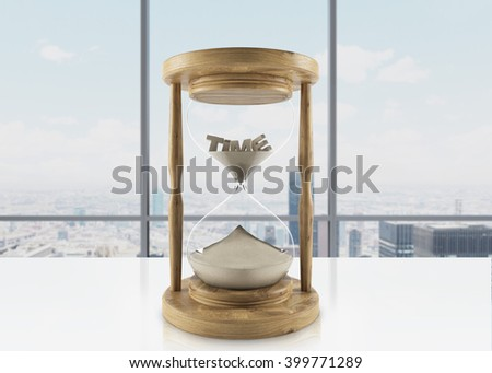 Sand glass in wooden carcass on office table, word 'time' inside. Panoramic window at background. Concept of time. 3D rendering