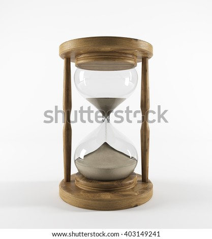 Sand glass in wooden carcass, sand running. White background. Concept of time. 3D rendering