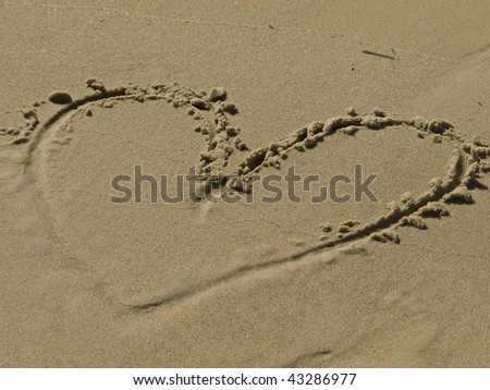 sand, heart, drawing