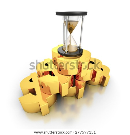 Sand Hourglass On Golden Dollar Currency Symbols Stack. Time Is Money Concept 3d Render Illustration - stock photo