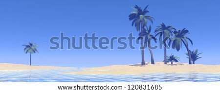 Sand island with palmtrees in the middle of ocean by beautiful blue day - stock photo