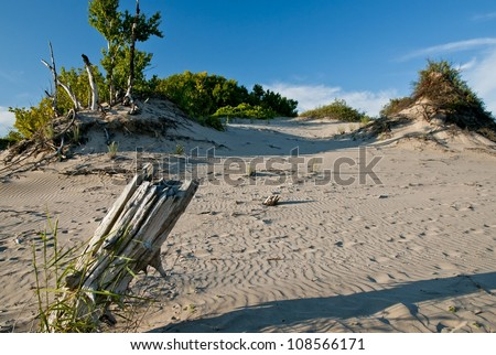 sand islands dot the landscape topped by what foliage can gain foothold in the depths of Sanbanks provincial park - stock photo