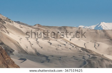 Sand mountain with light and shadow in China
