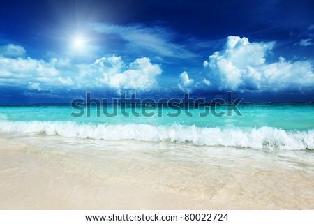 sand of beach caribbean sea - stock photo