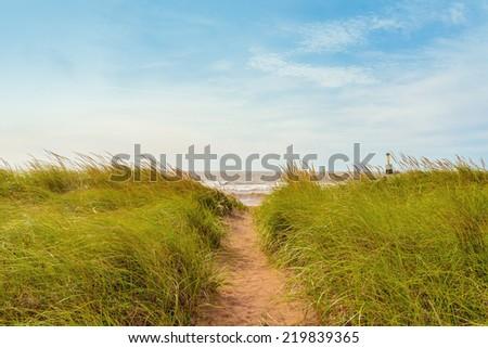 Sand path over dunes with beach grass (Cedar Dunes Provincial Park, Prince Edward Island, Canada) - stock photo