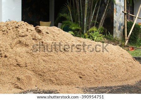 Sand pile on construction site.