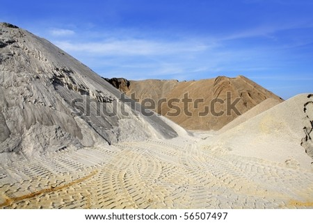 sand quarry mounds of varied construction sands