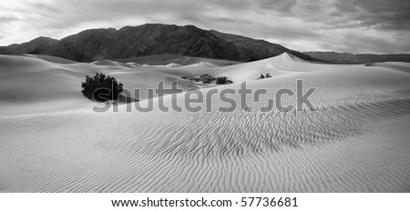 Sand Ripples, Death Valley National Park, California, Black And White - stock photo
