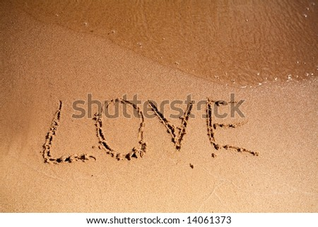 Sand. river .love - stock photo