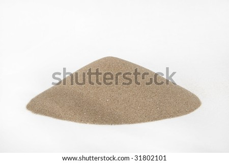 sand's cone - ore of mining industry isolated on white background - stock photo