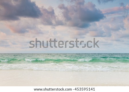 Sand sea and sky, natural landscape background