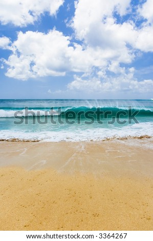 sand, sea, and sky on a beautiful hawaii beach with a breaking wave - stock photo