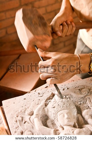 Sand stone carving. - stock photo