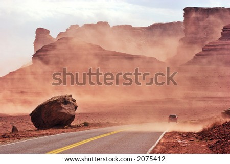 Sand storm. Glen Canyon National Recreational Area. Arizona, USA - stock photo