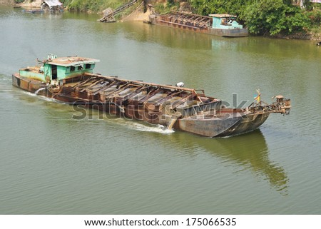 sand suction ship - stock photo