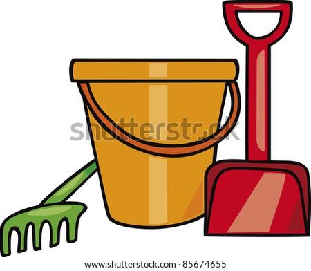 sand toys set cartoon illustration - stock photo