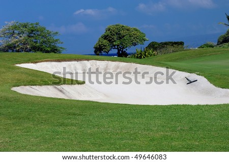 Sand trap is backed by a glimpse of the ocean and palm trees.  Lush green grass surrounds sand trap and rake. - stock photo