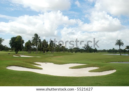 Sand trap on an overcast day, Miami, Florida