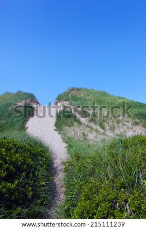 Sand walking path to the beach. - stock photo