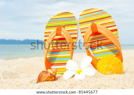 Sandals at the beach near the water line