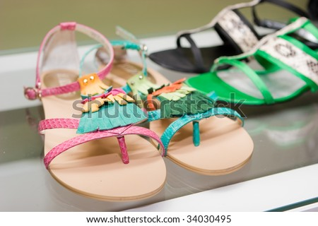 Sandals on showcase - stock photo