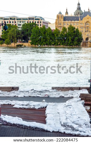 Sandbags at the flood - stock photo
