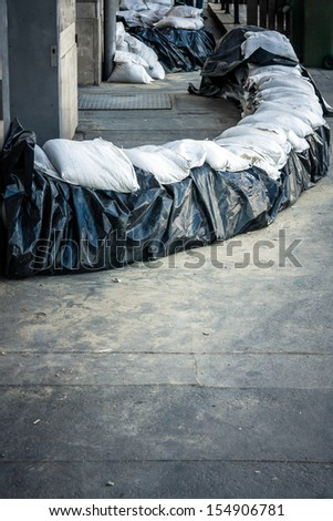 Sandbags at the flood closeup photo - stock photo