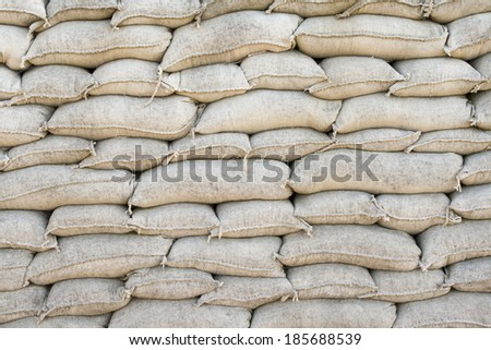 sandbags Trenches of Death in Dixmude flanders Belgium great world war 1 - stock photo