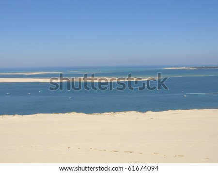 Sandbank on atlantic ocean in France