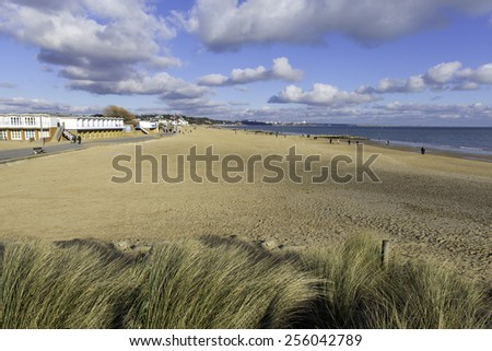 Sandbanks beach Poole Dorset England UK popular tourist destination on the English south coast - stock photo